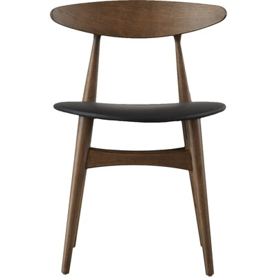 Chastain Side Chair Upholstery Color: Faux Leather - Black, Finish: Dark Walnut