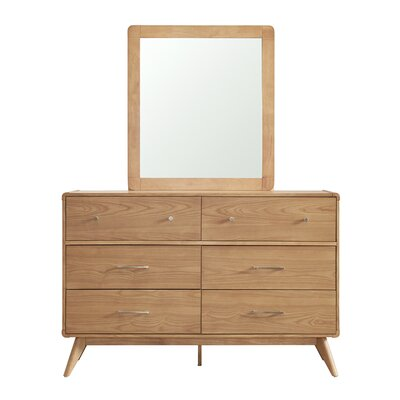 Grant 6 Drawer Dresser with Mirror Finish: Natural