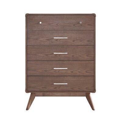 Leominster 5 Drawer Dresser Color: Walnut