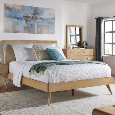 Leominster Upholstered Platform Bed Size: Twin, Finish: Natural