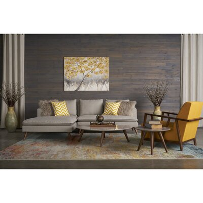 Oxnard 4 Piece Living Room Set Upholstery: Gold