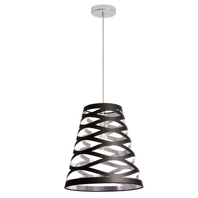 Sandon 1-Light Mini Pendant Shade Color: Black/Silver, Size: Small