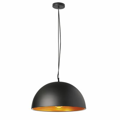 Redford 1-Light Inverted Pendant Color: Matte Black Gold
