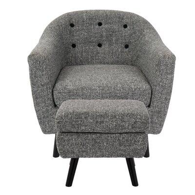 Henley Barrel Chair and Ottoman Upholstery: Dark Grey