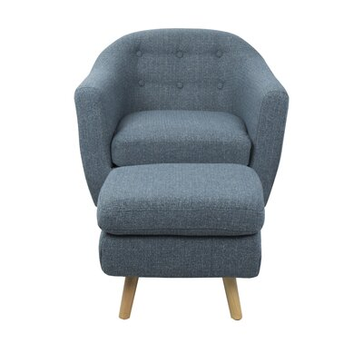 Laurence Barrel Chair and Ottoman Upholstery: Blue