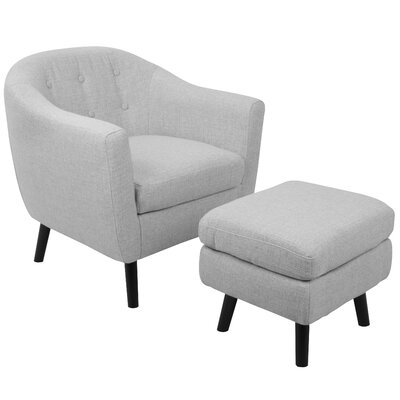 Henley Barrel Chair and Ottoman Upholstery: Light Grey