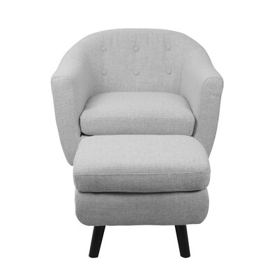 Laurence Barrel Chair and Ottoman Upholstery: Light Grey