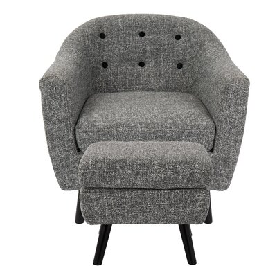 Laurence Barrel Chair and Ottoman Upholstery: Dark Grey
