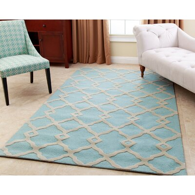 Aurora Hand Tufted Wool Light Turquoise/Slate Gray Area Rug Rug Size: Rectangle 8 x 10