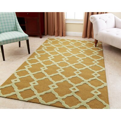 Aurora Hand-Tufted Yellow Area Rug Rug Size: 5 x 8