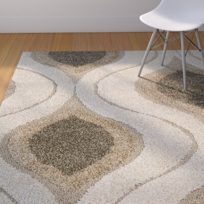 Fulton Cream/Gray Shag Area Rug Rug Size: Square 5