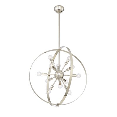 Caius 12-Light Globe Pendant Finish: Polished Nickel
