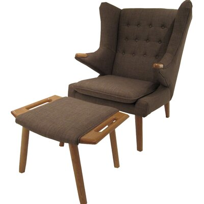 Styron Wingback Chair and Ottoman Upholstery: Brown