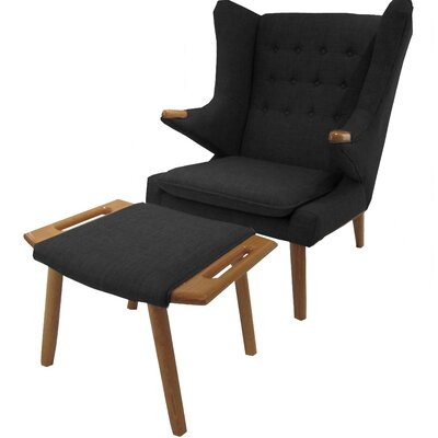 Styron Wingback Chair and Ottoman Upholstery: Charcoal