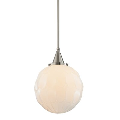 Lewis 1-Light Globe Mini Pendant Finish: Satin Nickel, Size: 16 H X 12 W X 12 D