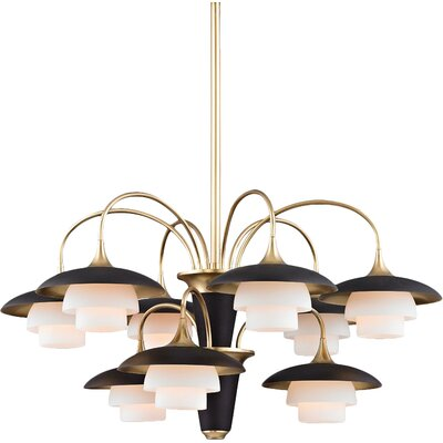 Kramer 9-Light Shaded Chandelier Finish: Aged Brass