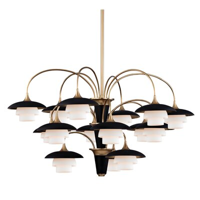Kramer 15-Light Shaded Chandelier Finish: Aged Brass