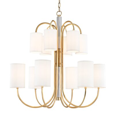 Ocala 12-Light Shaded Chandelier Finish: Aged Brass