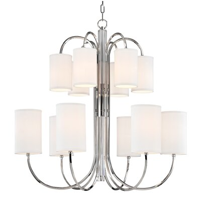 Ocala 12-Light Shaded Chandelier Finish: Polished Nickel