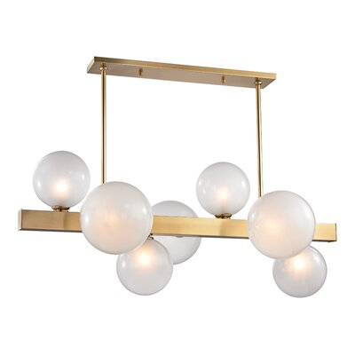 Merced 7-Light Kitchen Island Pendant Finish: Aged Brass