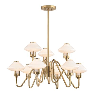 Milben 9-Light Shaded Chandelier Finish: Aged Brass