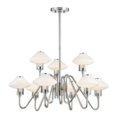 Milben 9-Light Shaded Chandelier Finish: Polished Nickel