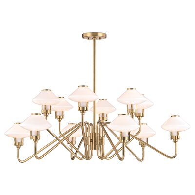 Milben 12-Light Shaded Chandelier Finish: Aged Brass