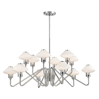 Milben 12-Light Shaded Chandelier Finish: Polished Nickel