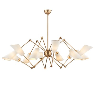Vita 12 Light Shaded Chandelier Finish: Aged Brass