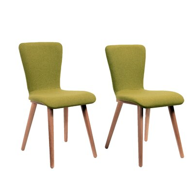 Perla Upholstered Dining Chair Color: Green