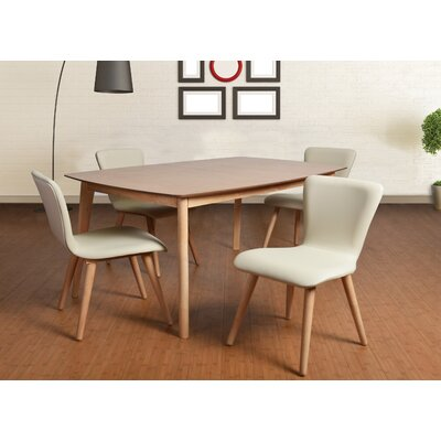 Perla 5 Piece Dining Set Upholstery: Cream