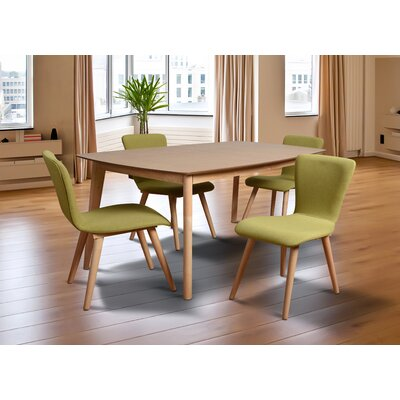 Perla 5 Piece Dining Set Upholstery: Green
