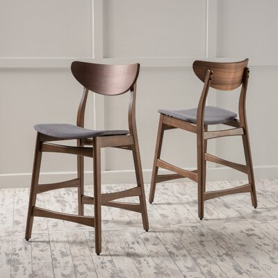Laceyville 24 Bar Stool Upholstery: Green Tea, Frame Finish: Walnut