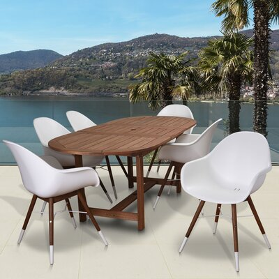 Colyer 7 Piece Dining Set Cushion Color: No Cushions