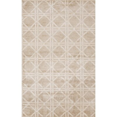 Creagh Hand-Knotted Beige Area Rug Rug Size: Rectangle 2' x 3'