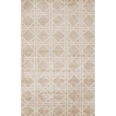 Creagh Hand-Knotted Beige Area Rug Rug Size: 5 x 8
