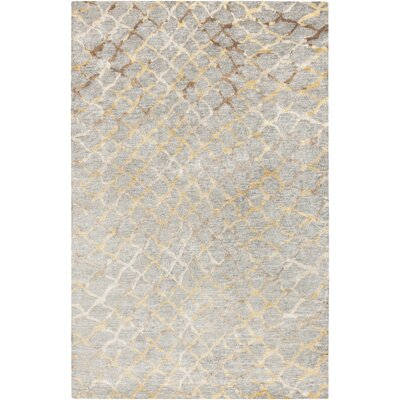 Olinda Hand-Knotted Medium Gray Area Rug Rug size: 9 x 13