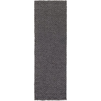 Arthur Hand-Crafted Charcoal Gray Area Rug Rug size: Runner 26 x 8