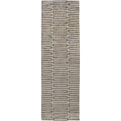 Olinda Hand-Knotted Khaki Area Rug Rug size: Runner 26 x 8