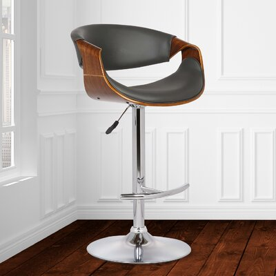 Alvin Adjustable Height Swivel Bar Stool Upholstery: Gray