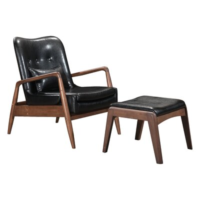 Marlowe Lounge Chair and Ottoman Color: Black