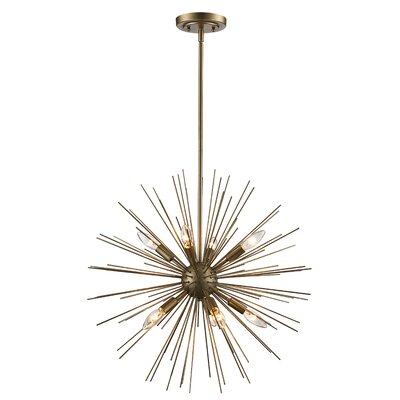 Antonie 9-Light Geometric Pendant Finish: Antique Silver