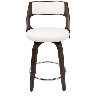 Adelyn 24.5 Swivel Bar Stool Upholstery: White