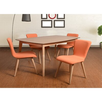Perla 5 Piece Dining Set Upholstery: Tangerlne