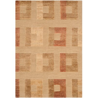 Mile Ranch Hand-Knotted Dark Beige Area Rug Rug Size: 9 x 12