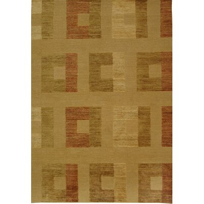 Shore Line Hand-Knotted Light Gold Area Rug Rug Size: 8 x 10