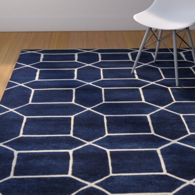 Miles Hand-Knotted Blue Area Rug Rug Size: Rectangle 4 x 6