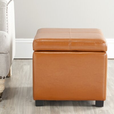 Clemens Leather Storage Ottoman Upholstery: Saddle