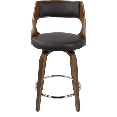 Adelyn 24.5 Swivel Bar Stool Upholstery: Brown