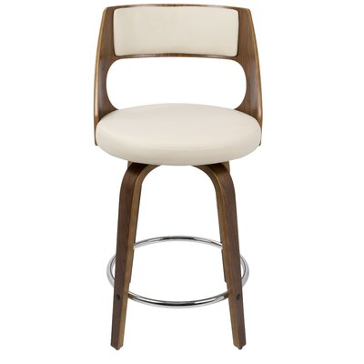 Seraphina 24.5 Swivel Bar Stool Upholstery: Cream